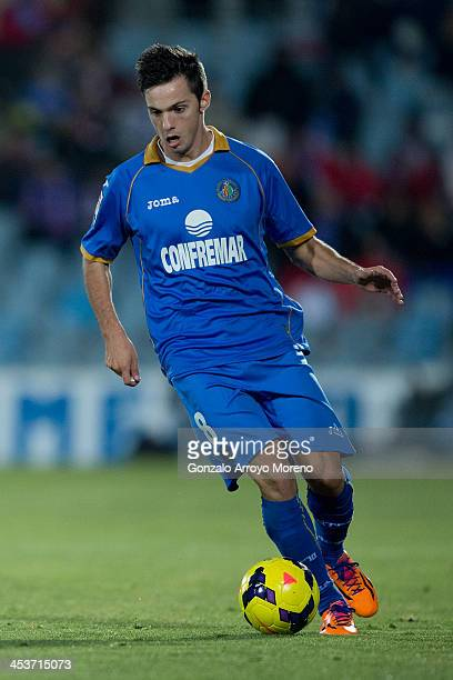 Pablo Sarabia of Getafe CF controls the ball during the La Liga match between Getafe CF and Levante UD at Coliseum Alfonso Perez on November 29 2013...