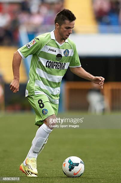 Pablo Sarabia of Getafe CF in action with the ball during the La Liga match between Levante UD and Getafe CF at Ciutat de Valencia on April 19 2014...