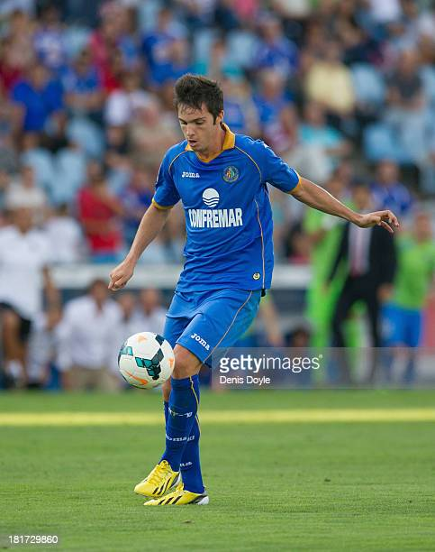 Pablo Sarabia of Getafe in action during the La Liga match between Getafe CF and CA Osasuna at Coliseum Alfonso Perez on September 15 2013 in Getafe...