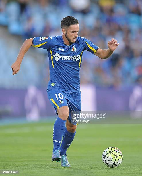 Pablo Sarabia of Getafe in action during the La liga match between Getafe and Levante at estadio Coliseum Alfonso Perez on September 27 2015 in...