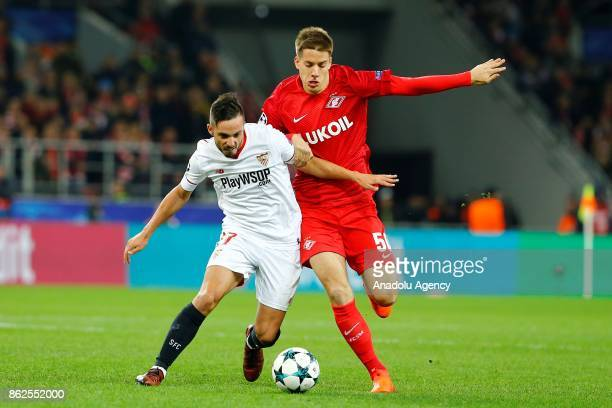 Pablo Sarabia of Sevilla and Mario Pasalic of Spartak Moscow in action during the UEFA Champions League match between Spartak Moscow and Sevilla FC...