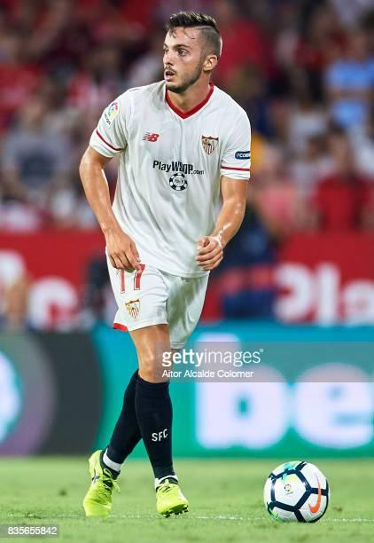 Pablo Sarabia of Sevilla FC in action during the La Liga match between Sevilla and Espanyol at Estadio Ramon Sanchez Pizjuan on August 19 2017 in...