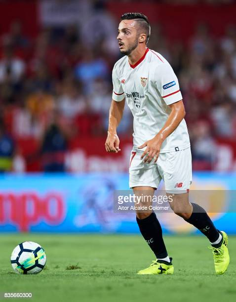 Pablo Sarabia of Sevilla FC in action during the La Liga match between Sevilla and Espanyol at Estadio Ramon Sanchez Pizjuan on August 19 2017 in...