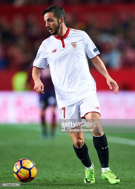 Pablo Sarabia of Sevilla FC in action during the La Liga match between Sevilla FC and SD Eibar at Estadio Ramon Sanchez Pizjuan on February 18 2017...