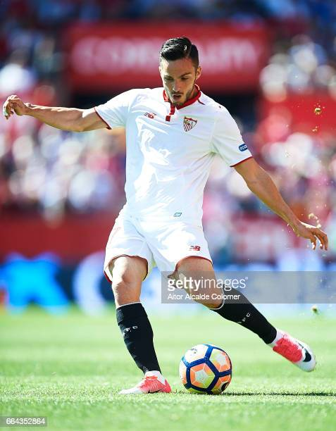 Pablo Sarabia of Sevilla FC in action during the La Liga match between Sevilla FC and Real Sporting de Gijon at Estadio Ramon Sanchez Pizjuan on...