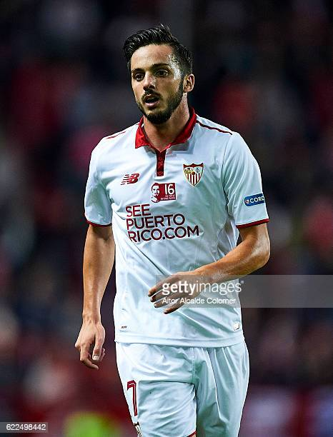Pablo Sarabia of Sevilla FC in action during the match between Sevilla FC vs Boca Juniors as part of the friendly match 'Trofeo Antonio Puerta' at...