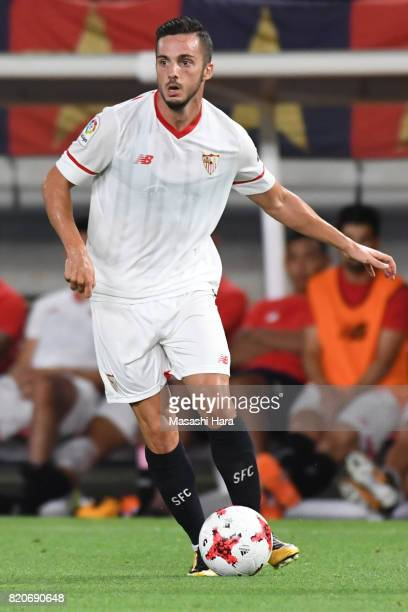 Pablo Sarabia of Sevilla FC in action during the preseason friendly match between Kashima Antlers and Sevilla FC at Kashima Soccer Stadium on July 22...