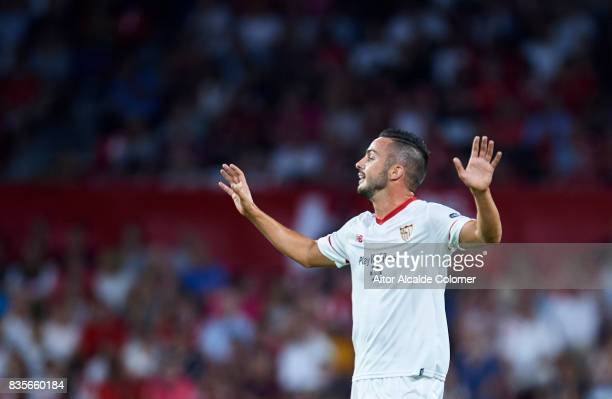 Pablo Sarabia of Sevilla FC reacts during the La Liga match between Sevilla and Espanyol at Estadio Ramon Sanchez Pizjuan on August 19 2017 in Seville