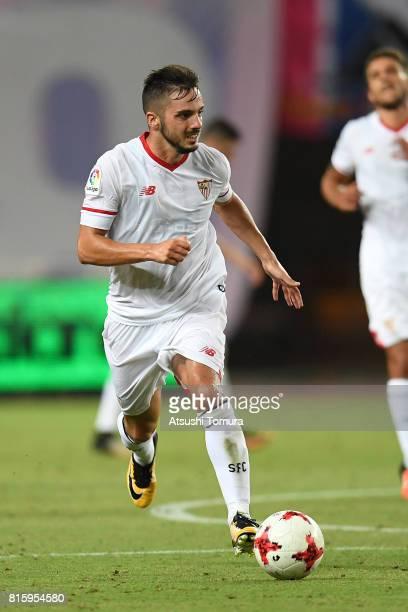 Pablo Sarabia of Sevilla FC runs with the ball during the preseason friendly match between Cerezo Osaka and Sevilla FC at Yanmar Stadium Nagai on...