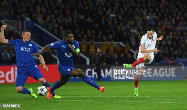 Pablo Sarabia of Sevilla shoots on goal during the UEFA Champions League Round of 16 second leg match between Leicester City and Sevilla FC at The...