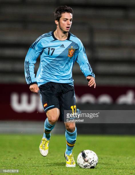 Pablo Sarabia of Spain in action during the UEFA European Under21 Championship playoff second leg match between Denmark and Spain held on October 16...
