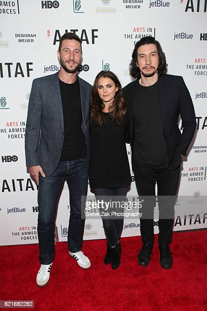 Pablo Schreiber Keri Russel and Adam Driver attend 8th Annual Arts in the Armed Forces performance on Broadway at Studio 54 on November 7 2016 in New...