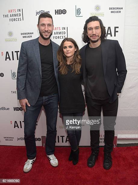 Pablo Schreiber Keri Russell and Adam Driver attend the 8th Annual Arts In The Armed Forces Performance On Broadway at Studio 54 on November 7 2016...