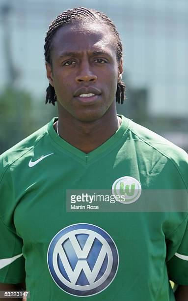 Pablo Thiam poses during the team presentation of VFL Wolfsburg for the Bundesliga Season 2005 2006 on July 10 2005 in Wolfsburg Germany