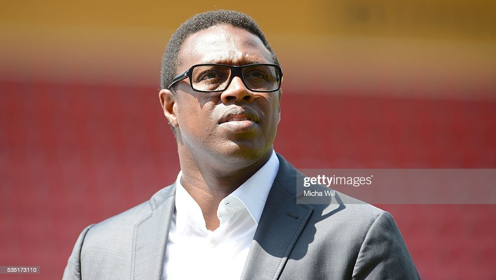 Pablo Thiam, sports director of Wolfsburg looks on prior to the Third League play off second leg match between Jahn Regensburg and VfL Wolfsburg II at Continental Arena on May 29, 2016 in Regensburg, Germany.