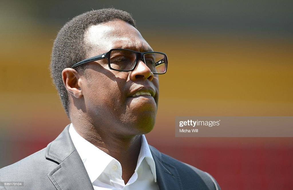 Pablo Thiam, sports director of Wolfsburg reacts prior to the Third League play off second leg match between Jahn Regensburg and VfL Wolfsburg II at Continental Arena on May 29, 2016 in Regensburg, Germany.