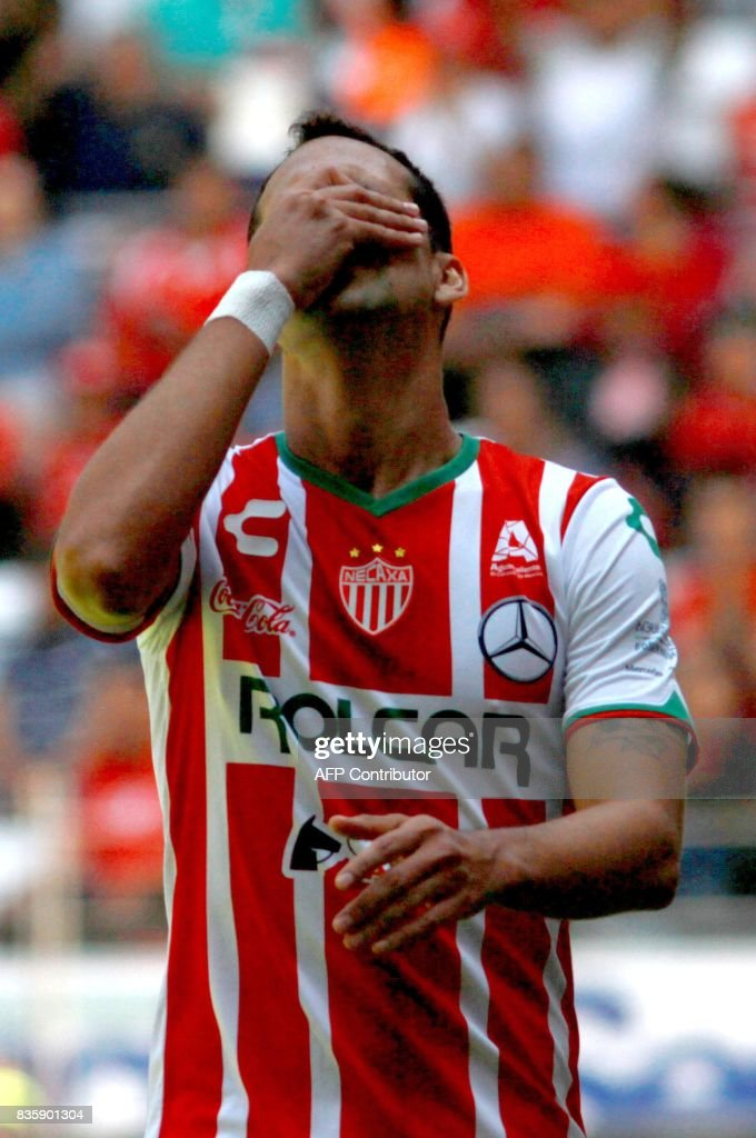 Pablo Velazquez of Necaxa reacts during their Mexican Apertura football tournament match against Toluca at the Nemesio Diez stadium in Toluca, Mexico, on August 20, 2017. /