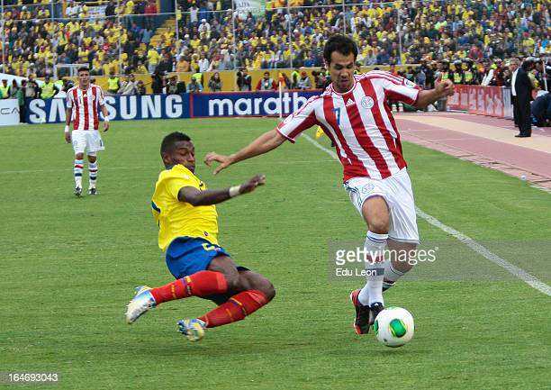 Pablo Velazquez of Paraguay controls the ball during a match between Ecuador and Paraguay as part of the 12th round of the South American Qualifiers...
