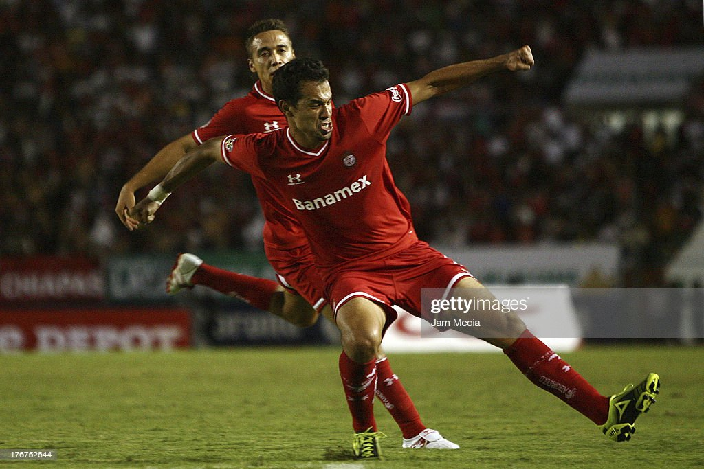 Pablo Velazquez of Toluca celebrates a scored goal against Jaguares during a match between Jaguares and Toluca as part of the Apertura 2013 Liga Bancomer MX at Victor Manuel Reyna Stadium on august 17, 2013 in Tuxtla Gutierrez, Mexico.