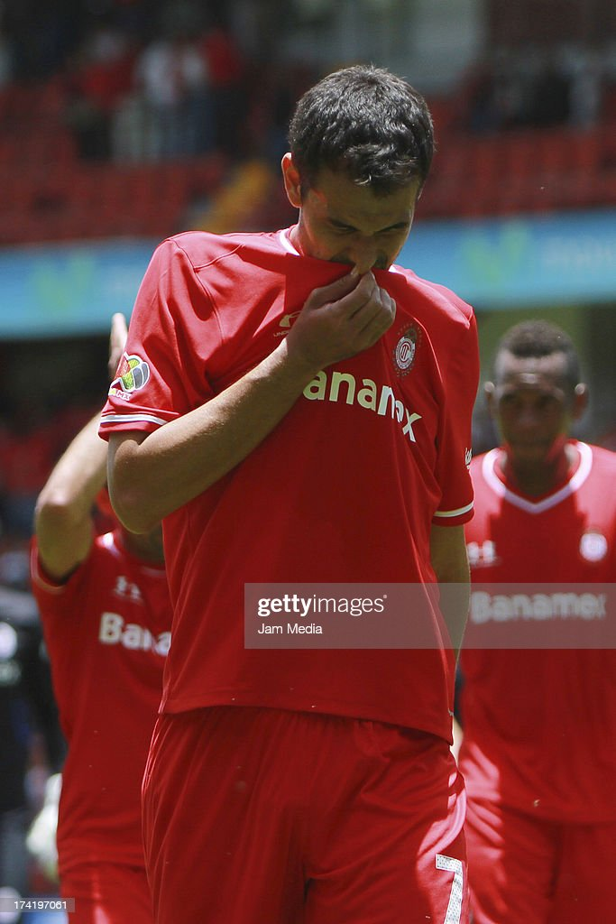 Pablo Velazquez of Toluca reacts during the match between Toluca and Pachuca as part of the Apertura 2013 Liga Bancomer MX at Nemesio Diez Stadium on july 21, 2013 in Toluca, Mexico.