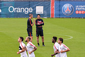 Pablo Villanueva and Unai Emery during Paris Saint Germain First Training Session on July 4 2016 in Camp des Loges SaintGermainenLaye France