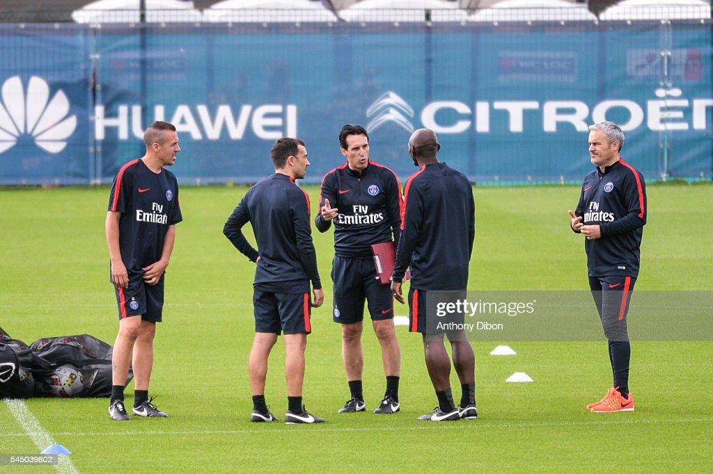 Pablo Villanueva Juan Carlos Carcedo Unai Emery Zoumana Camara and Victor Manas during Paris Saint Germain First Training Session on July 4 2016 in...