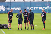 Pablo Villanueva Juan Carlos Carcedo Unai Emery Zoumana Camara and Victor Manas during Paris Saint Germain First Training Session on July 4 2016 in...
