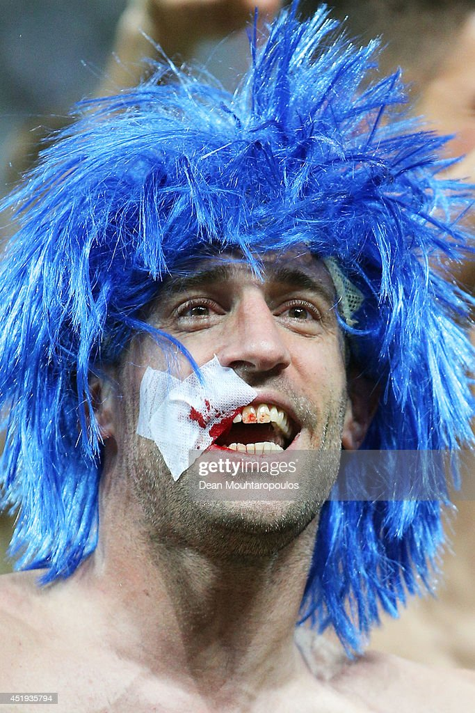 Pablo Zabaleta of Argentina celebrates with a bandage on his face after defeating the Netherlands in a penalty shootout during the 2014 FIFA World Cup Brazil Semi Final match between the Netherlands and Argentina at Arena de Sao Paulo on July 9, 2014 in Sao Paulo, Brazil.