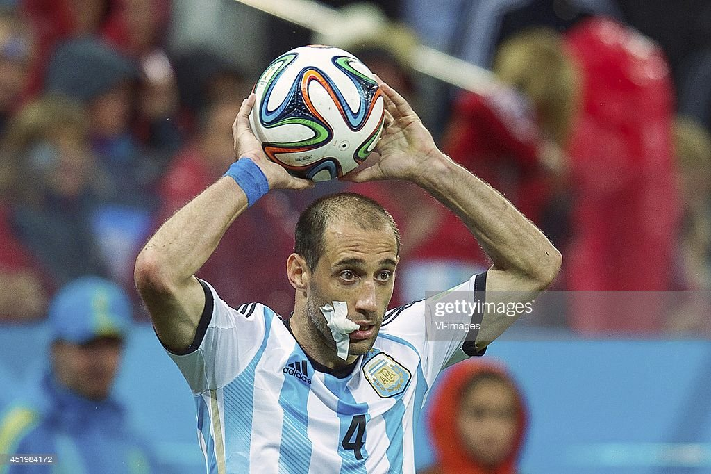 Pablo Zabaleta of Argentina during the match between The Netherlands and Argentina on July 9, 2014 at Arena de Sao Paulo in Sao Paulo, Brazil.