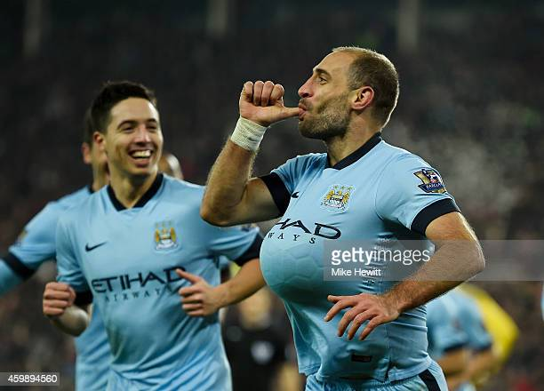 Pablo Zabaleta of Manchester City celebrates after scoring his team's third goal during the Barclays Premier League match between Sunderland and...