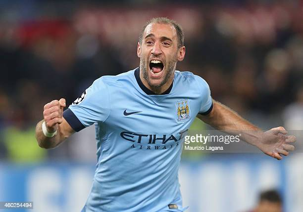 Pablo Zabaleta of Manchester City celebrates after scoring his team's second goal during the UEFA Champions League Group E match between AS Roma and...