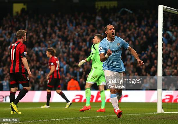 Pablo Zabaleta of Manchester City celebrates after scoring the opening goal during the Barclays Premier League match between Manchester City and West...