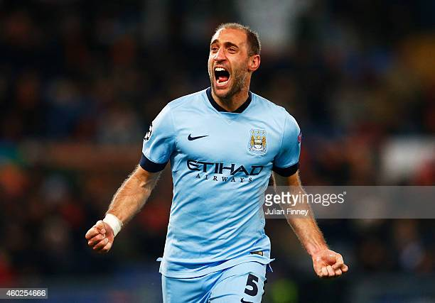 Pablo Zabaleta of Manchester City celebrates as he scores their second goal during the UEFA Champions League Group E match between AS Roma and...