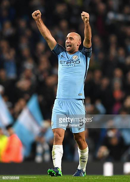 Pablo Zabaleta of Manchester City celebrates his sides win after the final whistle during the UEFA Champions League Group C match between Manchester...