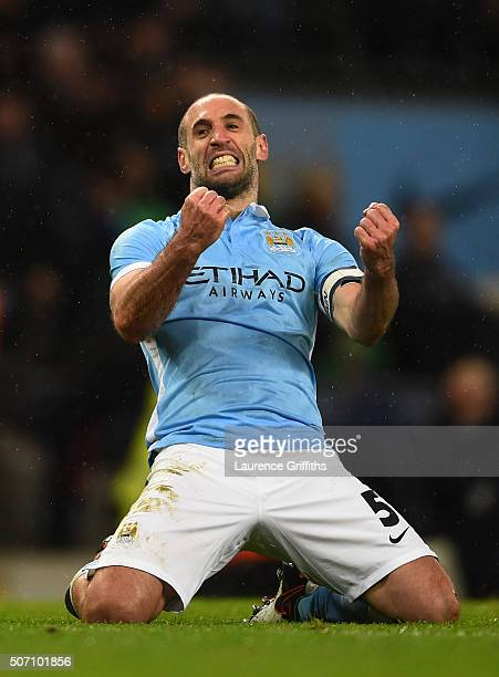 Pablo Zabaleta of Manchester City celebrates his team's 31 victory and progression to the final during the Capital One Cup Semi Final second leg...