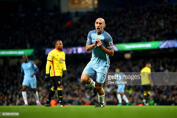 Pablo Zabaleta of Manchester City celebrates scoring the opening goal during the Premier League match between Manchester City and Watford at Etihad...