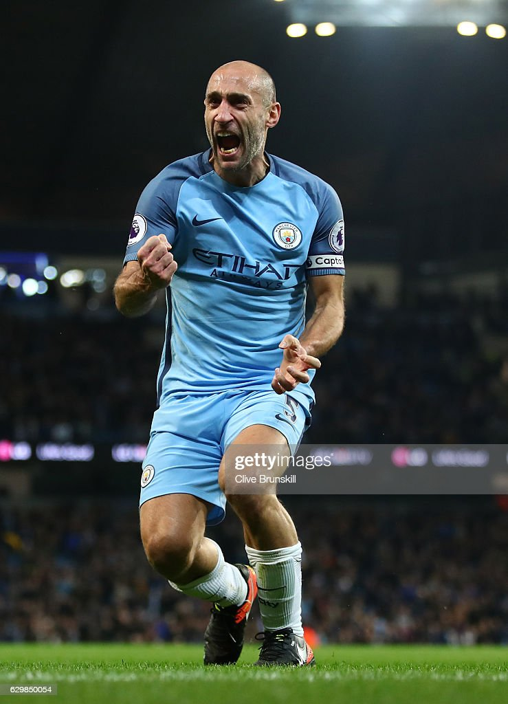 Pablo Zabaleta of Manchester City celebrates scoring the opening goal during the Premier League match between Manchester City and Watford at Etihad Stadium on December 14, 2016 in Manchester, England.