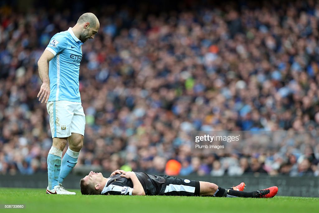 Pablo Zabaleta of Manchester City checks on Marc Albrighton of Leicester City during the Premier League match between Manchester City and Leicester City at Etihad Stadium on February 6, 2016 in Manchester, United Kingdom.