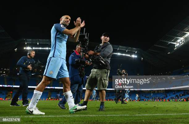 Pablo Zabaleta of Manchester City does a lap of honour after his last home match for the club during the Premier League match between Manchester City...
