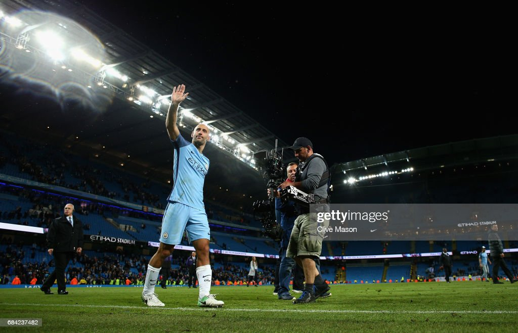 Pablo Zabaleta of Manchester City does a lap of honour after his last home match for the club during the Premier League match between Manchester City and West Bromwich Albion at Etihad Stadium on May 16, 2017 in Manchester, England.