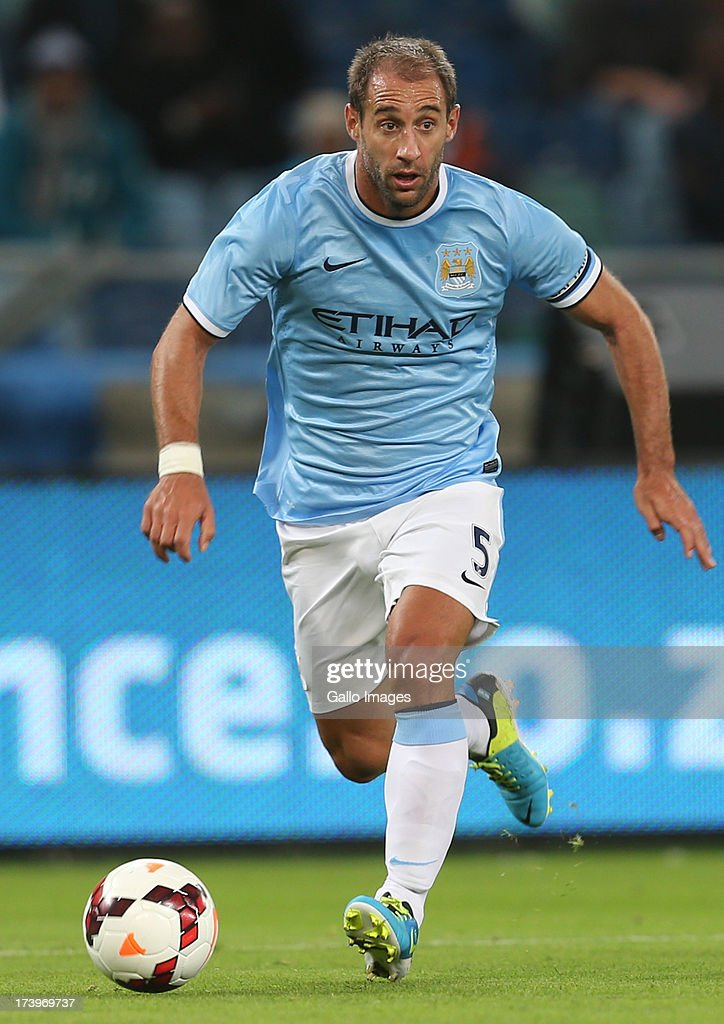 Pablo Zabaleta of Manchester City during the Nelson Mandela Football Invitational match between AmaZulu and Manchester City at Moses Mabhida Stadium on July 18, 2013 in Durban, South Africa.