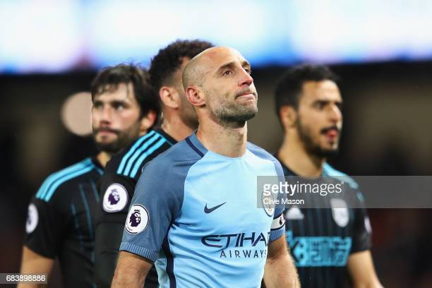 Pablo Zabaleta of Manchester City looks on after the Premier League match between Manchester City and West Bromwich Albion at Etihad Stadium on May...