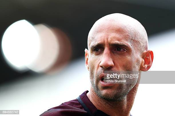 Pablo Zabaleta of Manchester City looks on during the Premier League match between Stoke City and Manchester City on August 20 2016 in Stoke on Trent...