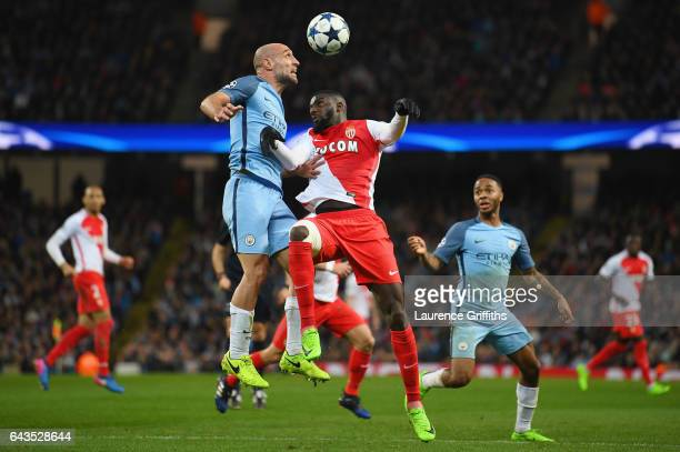 Pablo Zabaleta of Manchester City outjumps Tiemoue Bakayoko of AS Monaco during the UEFA Champions League Round of 16 first leg match between...