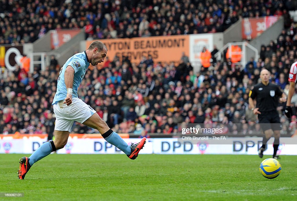 Pablo Zabaleta of Manchester City scores the opening goal during the FA Cup with Budweiser Fourth Round match between Stoke City and Manchester City at Britannia Stadium on January 26, 2013 in Stoke on Trent, England.