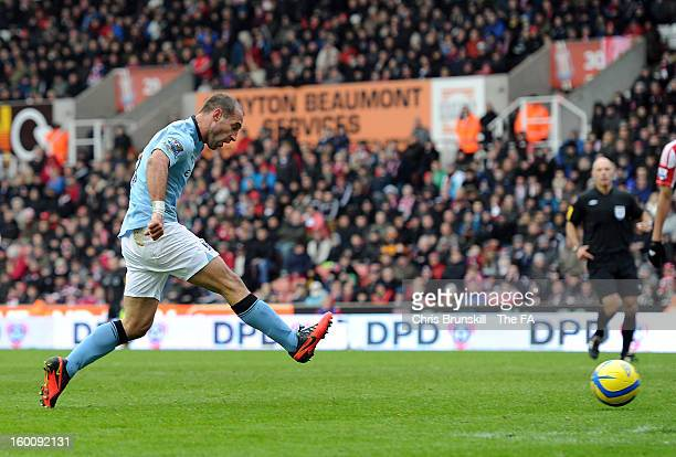 Pablo Zabaleta of Manchester City scores the opening goal during the FA Cup with Budweiser Fourth Round match between Stoke City and Manchester City...
