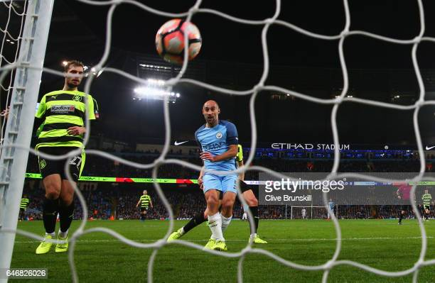 Pablo Zabaleta of Manchester City scores their third goal during The Emirates FA Cup Fifth Round Replay match between Manchester City and...