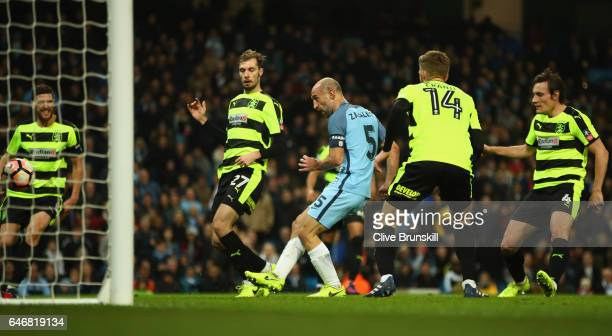 Pablo Zabaleta of Manchester City scores their third goal from a penalty during The Emirates FA Cup Fifth Round Replay match between Manchester City...