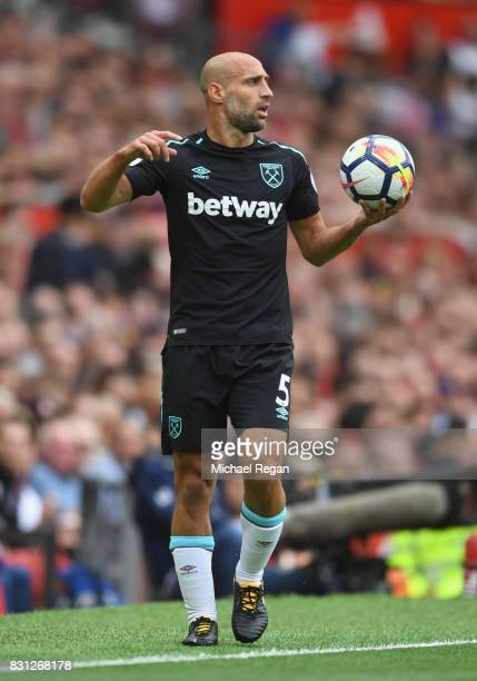 Pablo Zabaleta of West Ham in action during the Premier League match between Manchester United and West Ham United at Old Trafford on August 13 2017...