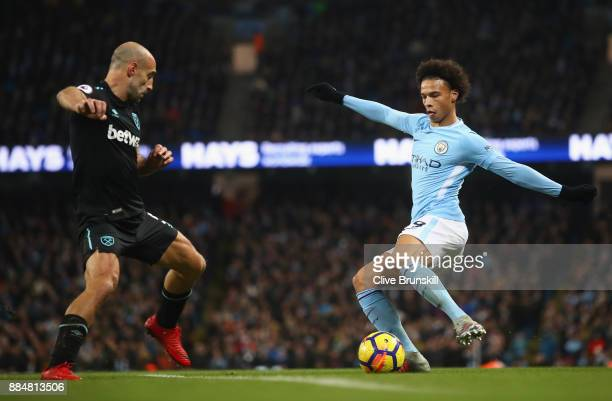 Pablo Zabaleta of West Ham United and Leroy Sane of Manchester City in action during the Premier League match between Manchester City and West Ham...